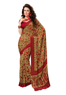 Fabdeal Light Green Colored Crepe Printed Saree