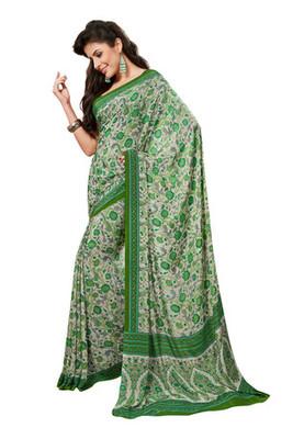 Fabdeal White & Green Colored Crepe Printed Saree