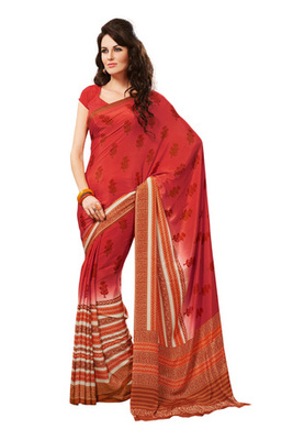 Fabdeal Peach Colored Crepe Printed Saree