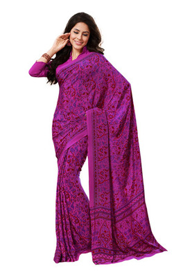 Fabdeal Magenta Colored Crepe Printed Saree