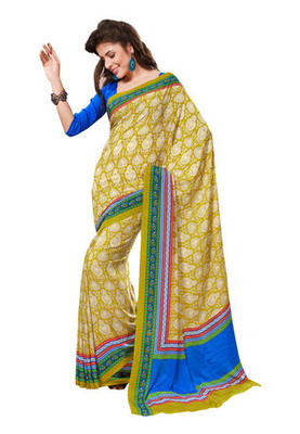 Fabdeal Olive Green Colored Crepe Printed Saree