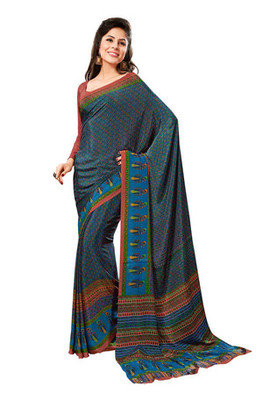 Fabdeal Blue Colored Crepe Printed Saree