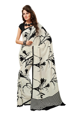 Fabdeal White Colored Georgette Crepe Chex Printed Saree