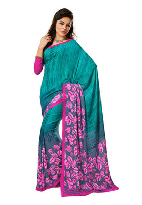 Fabdeal Blue Colored Georgette Crepe Chex Printed Saree