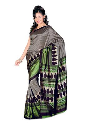 Fabdeal Grey Colored Tussar Silk Printed Saree