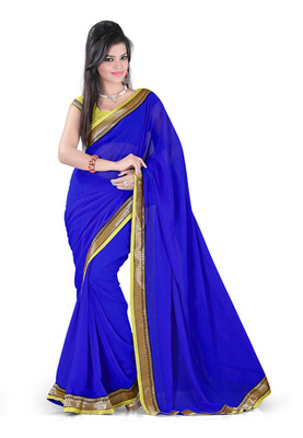 Fabdeal Blue Colored Chiffon Georgette Plain With Lace Border Saree