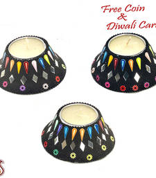 Buy Stunning lamp shade shape candle diyas- set of 3 candle online