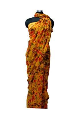 Mustard Flower print semi Chiffon saree