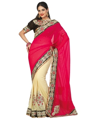 Triveni Fine-looking Party Wear Border Worked Indian Traditional  Georgette Sari