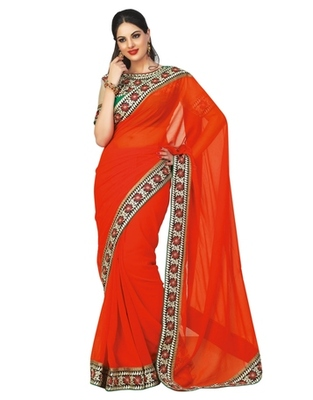 Triveni Noticeable Party Wear Border Worked Indian Traditional  Georgette Saree