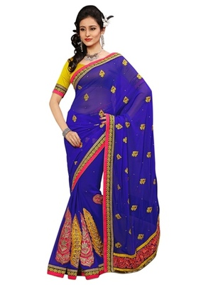 Triveni Indian Ethnic Striking Traditional Embroidered Chiffon Sari