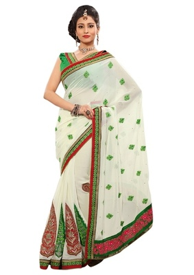 Triveni Indian Ethnic Adorable Floral Embroidered Chiffon Saree