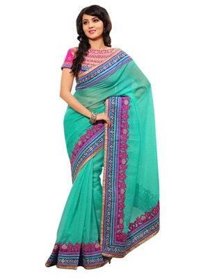 Triveni Indian Ethnic Divine Embroidered Bordered Jute Silk Saree