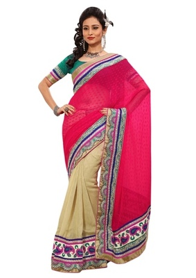 Triveni Indian Ethnic Evoking Dual Colored Border Worked Saree