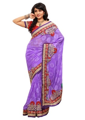 Triveni Indian Ethnic Noticeable Embroidered Chiffon Jacquard Sari