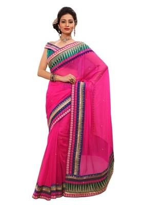 Triveni Indian Ethnic Glorious Temple Inspired Cotton Silk Saree