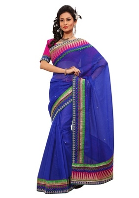 Triveni Indian Ethnic Alluring Border Worked Cotton Silk Saree