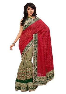 Triveni Indian Ethnic Fabulous Embroidered Viscose Jacquard Saree