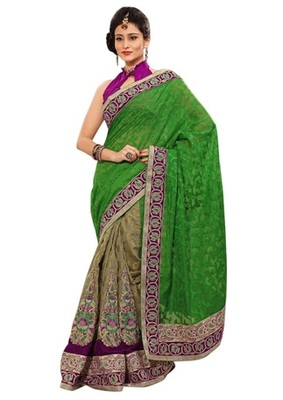 Triveni Indian Ethnic Amazing Embroidered Viscose Jacquard Saree