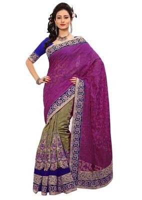 Triveni Indian Ethnic Divine Embroidered Viscose Jacquard Saree