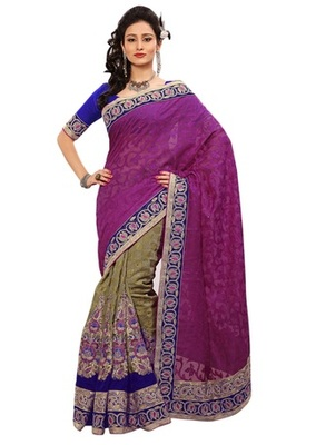 Triveni Indian Ethnic Divine Embroidered Viscose Jacquard Saree