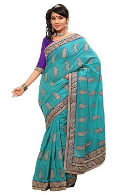 Triveni Indian Ethnic Appreciable Paisely Motif Embroidered Saree