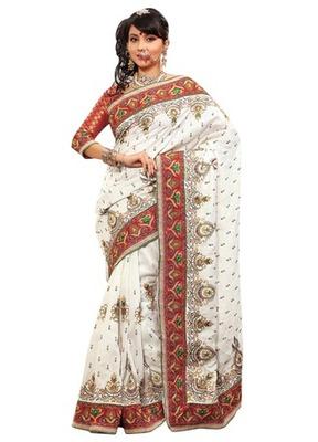 Triveni Indian Ethnic Evoking Embroidered Bhagalpuri Silk Saree