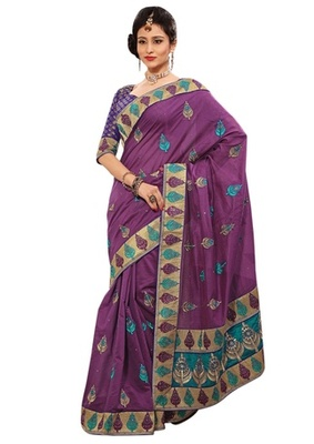 Triveni Indian Ethnic Elite Leaf Embroidered Chanderi Silk Saree
