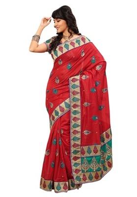 Triveni Indian Ethnic Eyecatchy Embroidered Chanderi Silk Saree