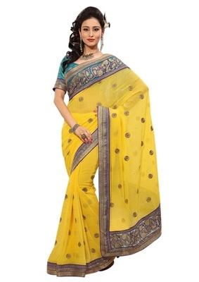 Triveni Indian Ethnic Entrancing Floral Embroidered Chiffon Saree