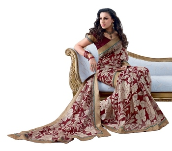 Triveni Latest Indian Designer Lovely Floral Printed Chiffon Brasso Saree