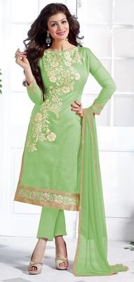 Light green chanderi embroidered unstitched kameez with dupatta