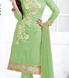 Light green chanderi embroidered unstitched kameez with dupatta