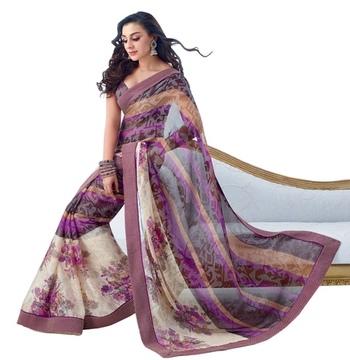 Triveni Latest Indian Designer Striking Abstract Patterned Chiffon Saree