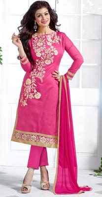 Pink chanderi embroidered unstitched salwar with dupatta
