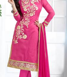 Pink chanderi embroidered unstitched salwar with dupatta