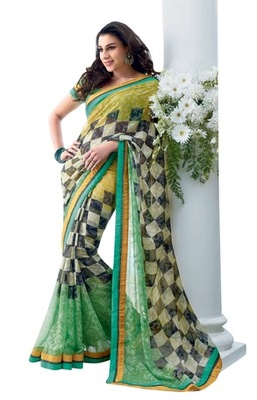 Triveni Latest Indian Designer Classy Checkered Patterned Printed Saree