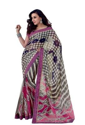 Triveni Latest Indian Designer Smart Checkered Pattern Chiffon Brasso Saree