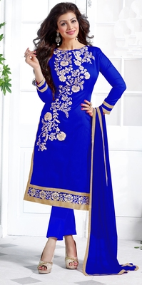 Blue chanderi embroidered unstitched salwar with dupatta