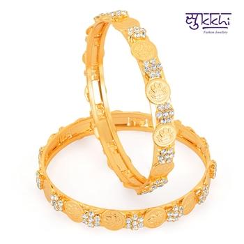 Sukkhi Gold Plated AD Stone lord lakshmi bangels