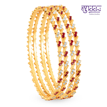 Sukkhi Gold Plated Color & AD Stone bangels Diwali offers 2014