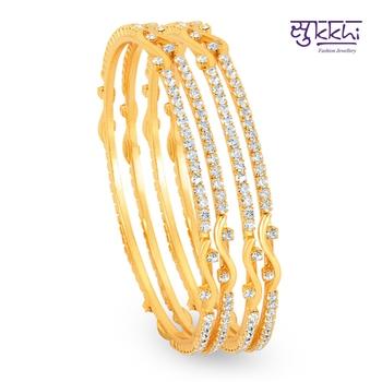 Sukkhi Gold Plated AD Stone bangels