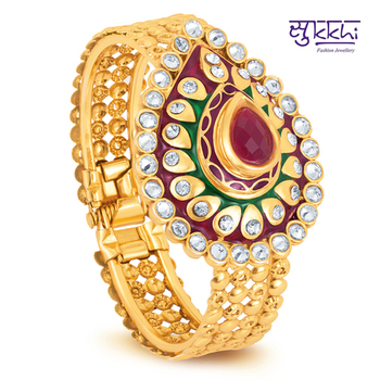 Sukkhi Gold Plated multicolor stone flexible kada