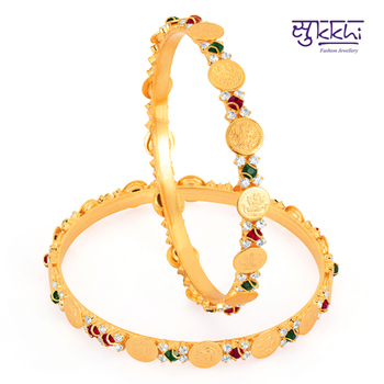 Sukkhi Gold Plated lord lakshmi Multi color stone bangels