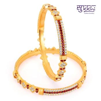 Sukkhi Gold Plated Color Stone Bangels Diwali gifts