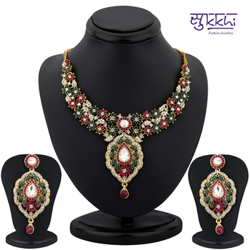 Sukkhi color stone neacklace set