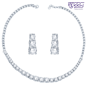 Sukkhi Rhodium Plated CZ Single string Solitaires Neackalce Set