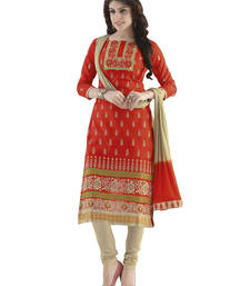 Buy Red cotton embroidered unstitched salwar with dupatta salwars-and-churidar online