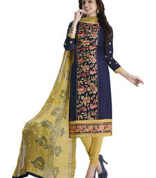 Buy Blue cotton embroidered unstitched salwar with dupatta salwars-and-churidar online