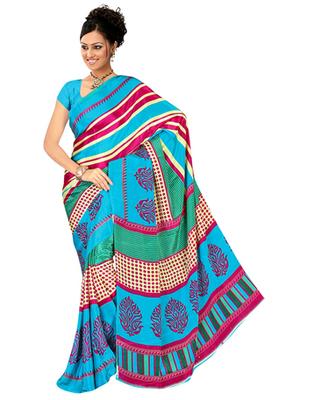 Dealtz Fashion Sky Blue Gadwal Silk Saree